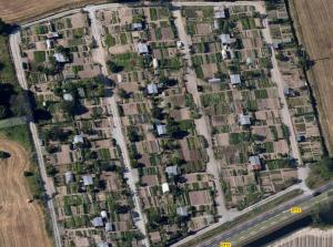 Vue satellite des jardins familiaux